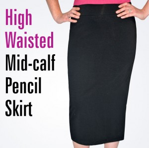 high waisted mid-calf pencil skirt 1470 with text