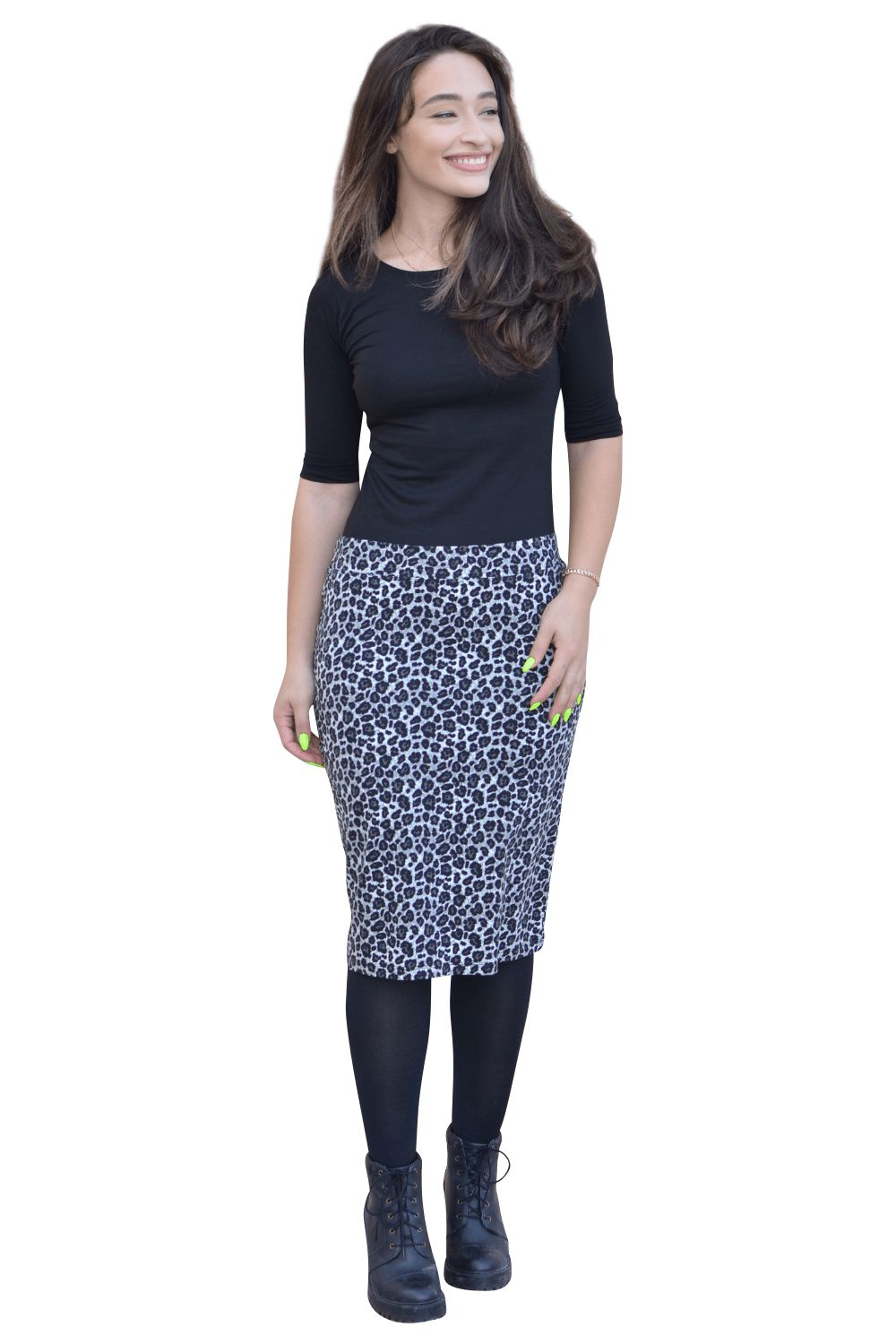 Kosher Casual Womens Modest Knee Length Lightweight Cotton Stretch Twill Pencil Skirt