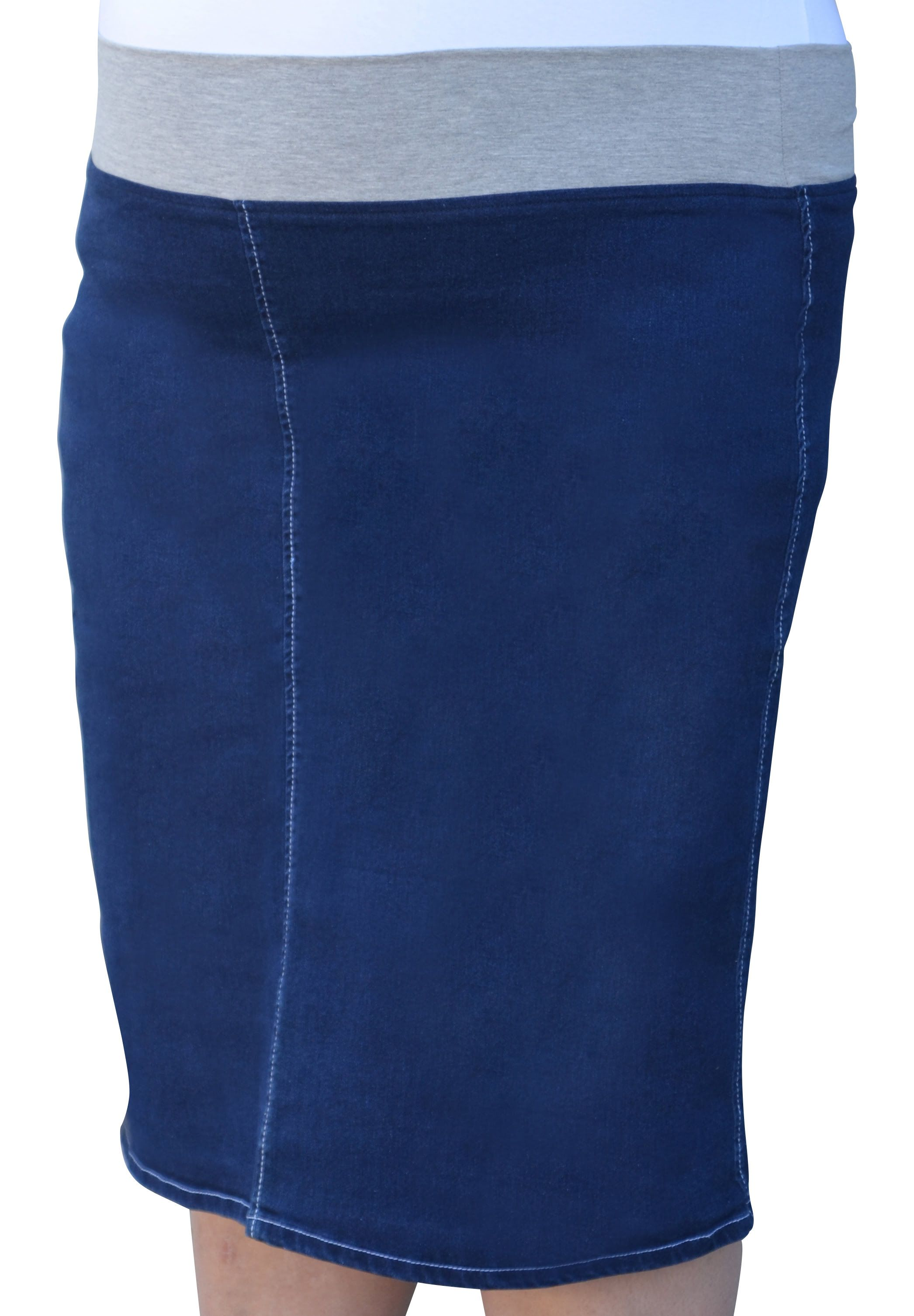 07ae0ca7d8 Women's Straight Knee Length Denim Skirt with Stretch Waistband Plus Size