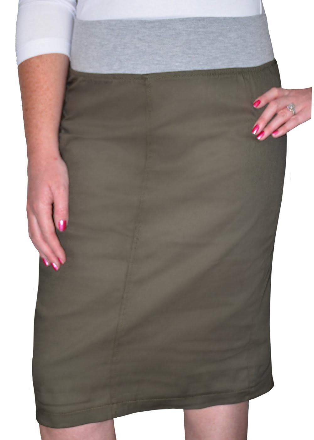 bcb75e10b26a8 1806. Twill Skirt with Comfortable Cotton Spandex Waistband