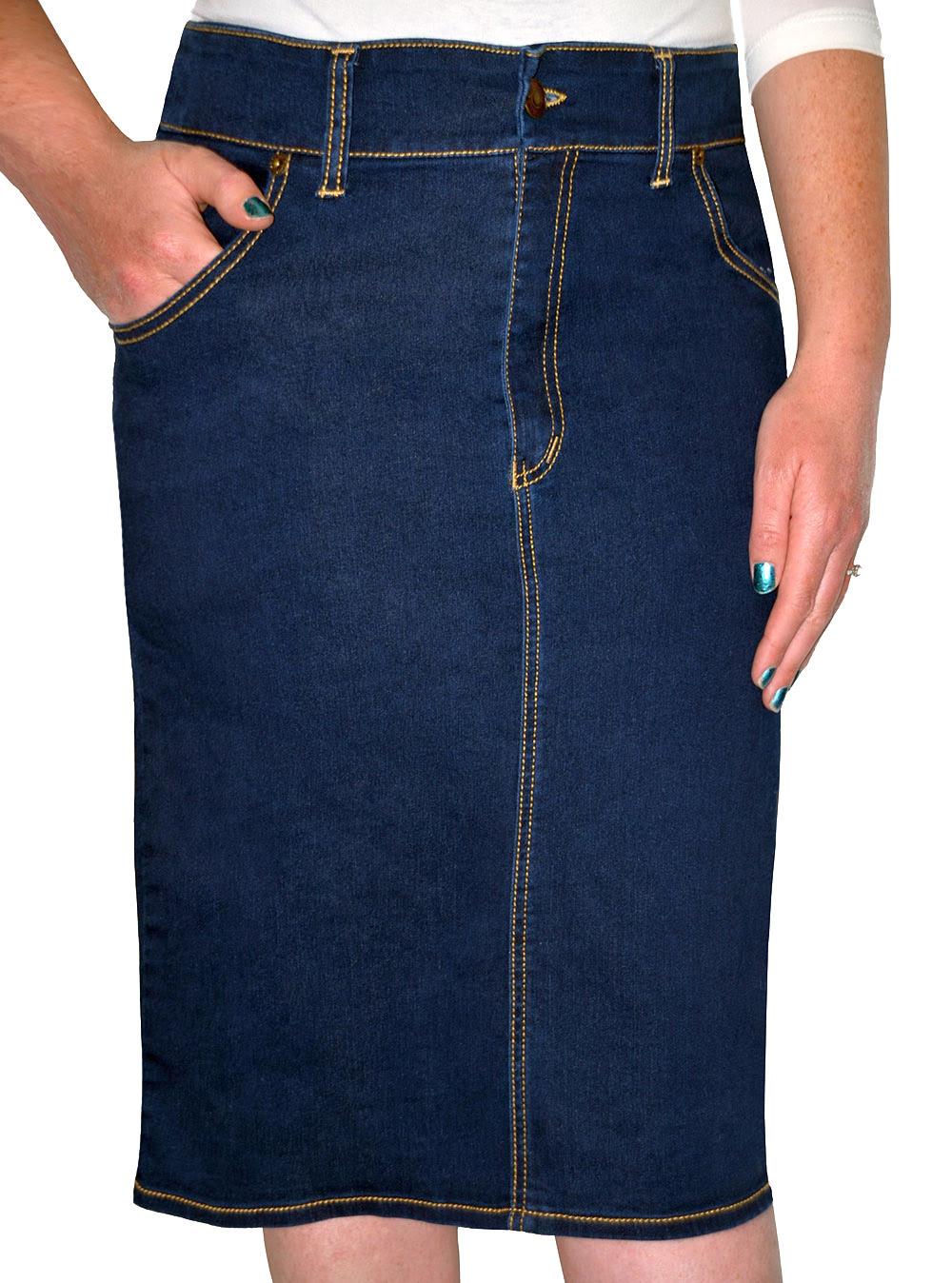Denim Pencil Skirt for Women. Long Skirts. Kosher Casual.