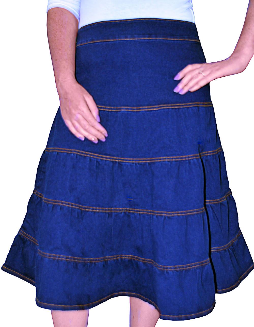 Women's knee length denim skirts. Kosher Casual