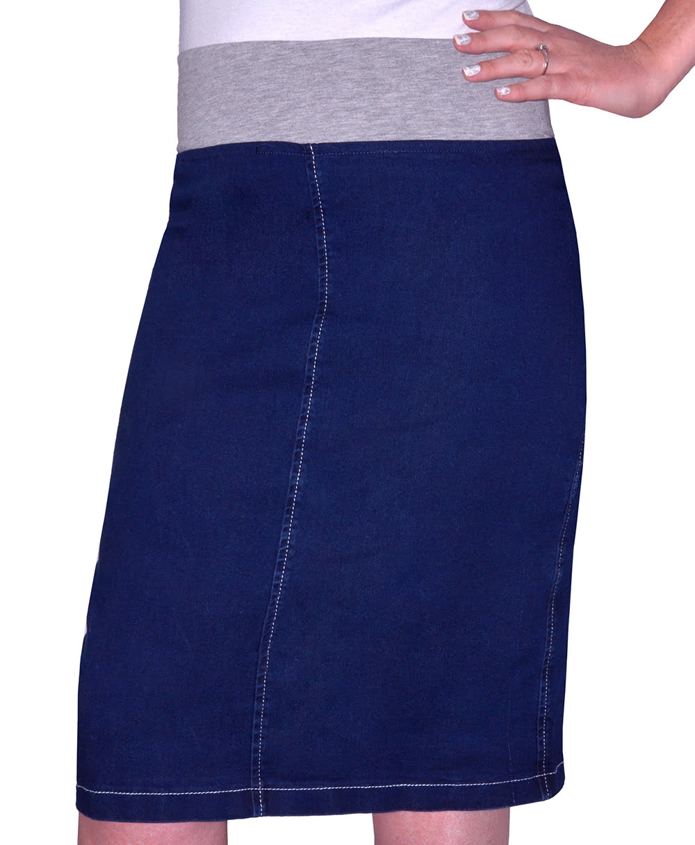 6408085ce1a8c 1490. Women s Straight Knee Length Denim Skirt with Stretch Waistband