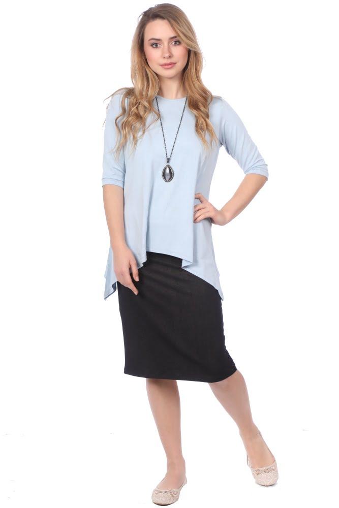 e74c5828a1cc26 1244. Womens Tunic Top - Long with Handkerchief Hem