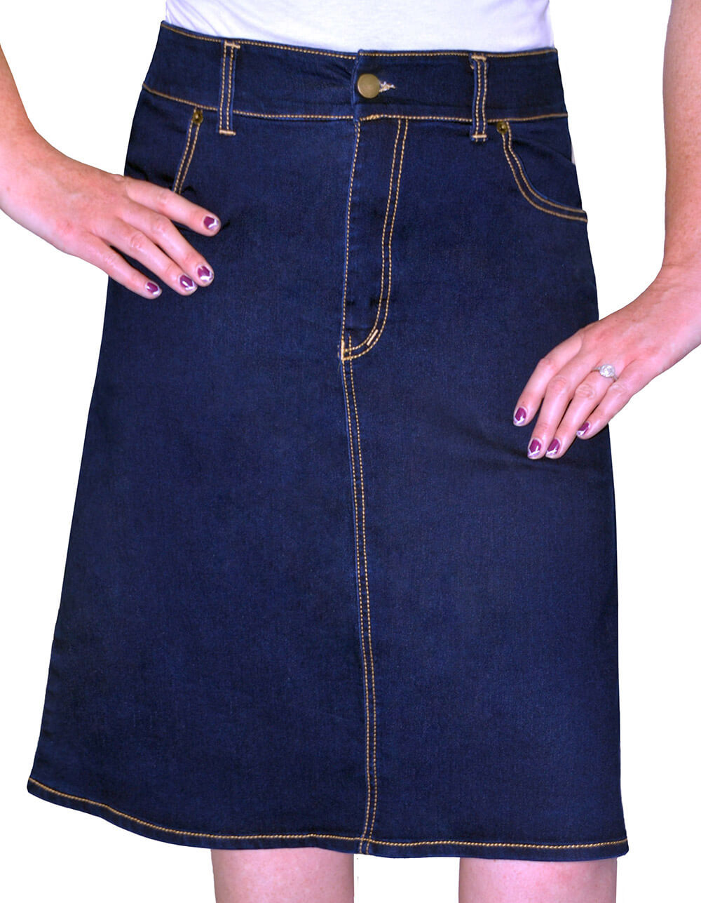 knee length a line denim skirt for kosher casual