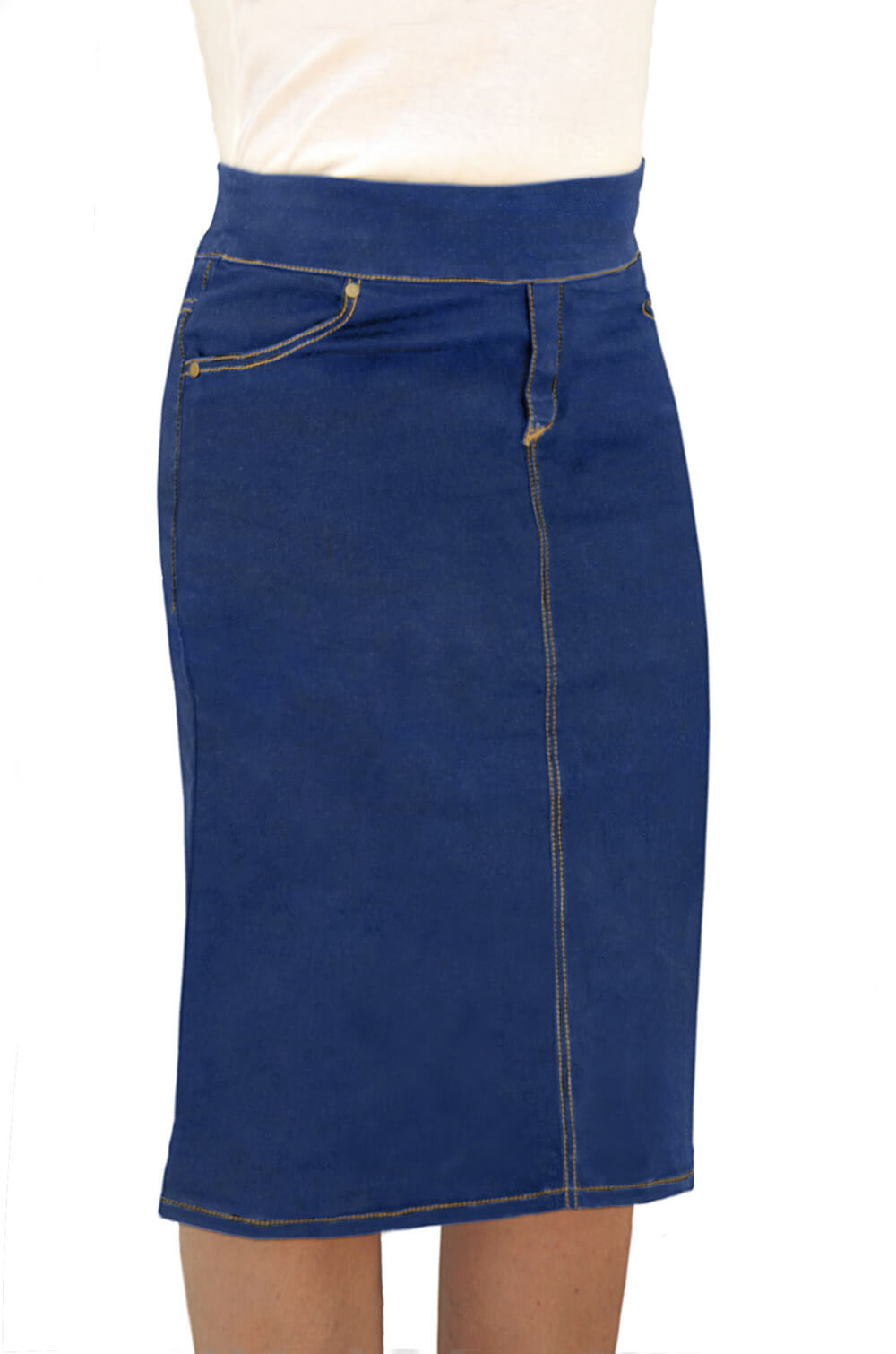 5bb45599ad 1808. Denim Fitted Pencil Skirt Knee Length ...