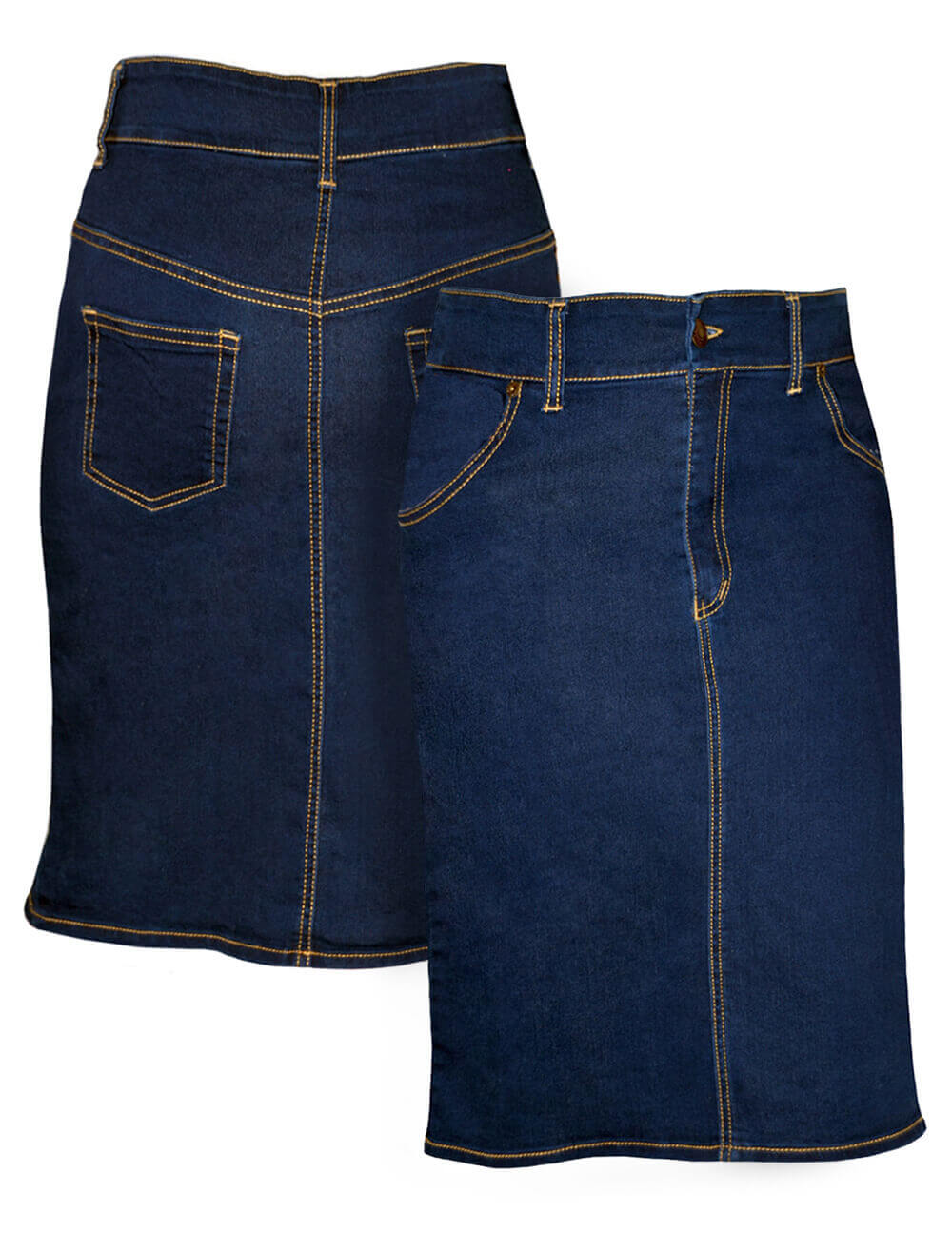 Girls' Denim Pencil Skirt Knee Length - Classic-Styling
