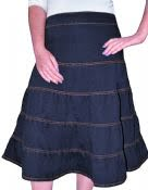 Denim Tiered Skirt Knee Length Womens