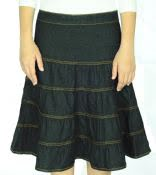 Denim Tiered Skirt Knee Length Womens #1481
