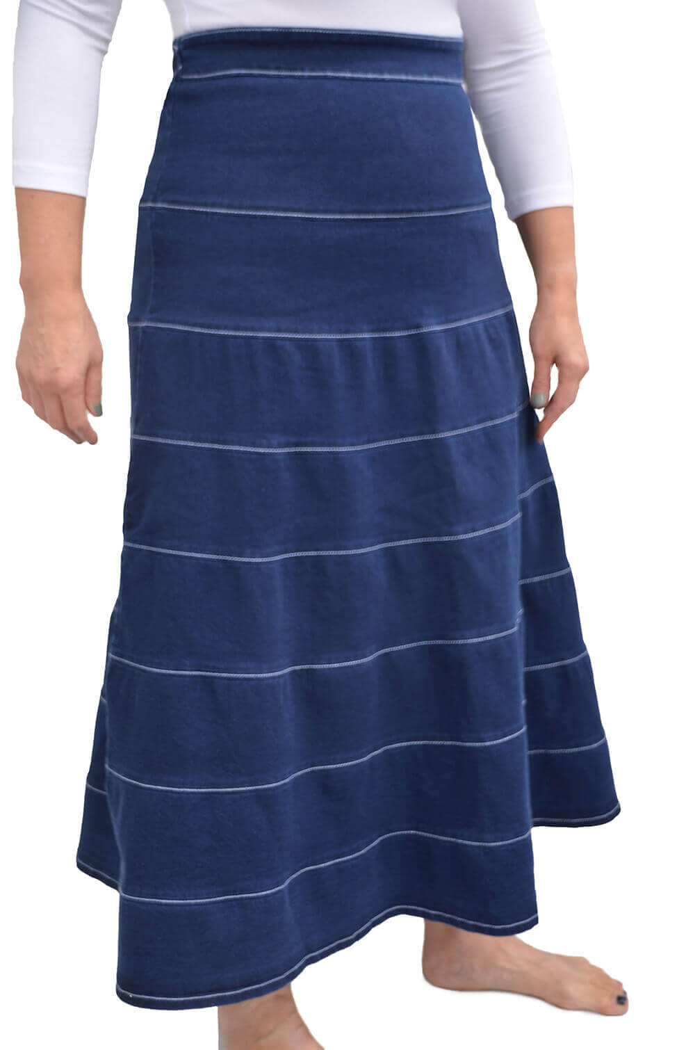 Long Denim Skirt Tiered Layers for Womens - REVISED