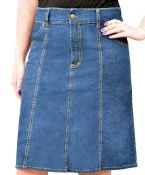 Knee Length Denim Skirt with Vertical Panels for Women