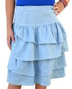 Ruffle Denim Skirt for Girls #1494