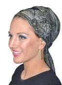 Women's Shimmer Tichel Bandana With Flower Decoration