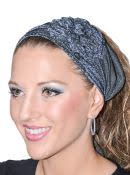 Women's Shimmer Tichel Headband With Flower Decoration