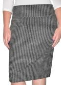 Classic Houndstooth Plaid Tapered Pencil Skirt