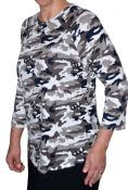 Camouflage Print 3/4 Sleeve Shirt