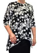 Printed Loose Tunic Top for Women with Handkerchief Hem