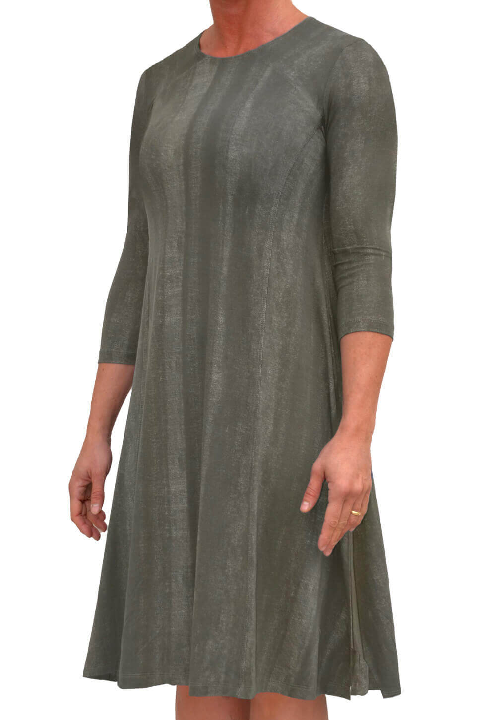 Trapeze Dress 3/4 Sleeve in Stonewashed Fabric