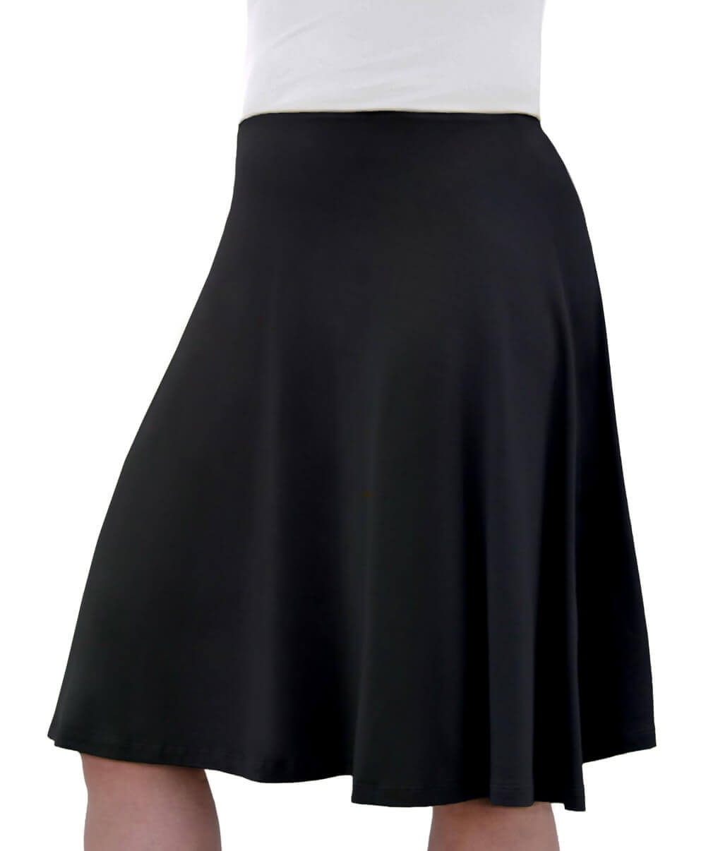 Knee Length Skater Skirt with Full A-line Cut for Women